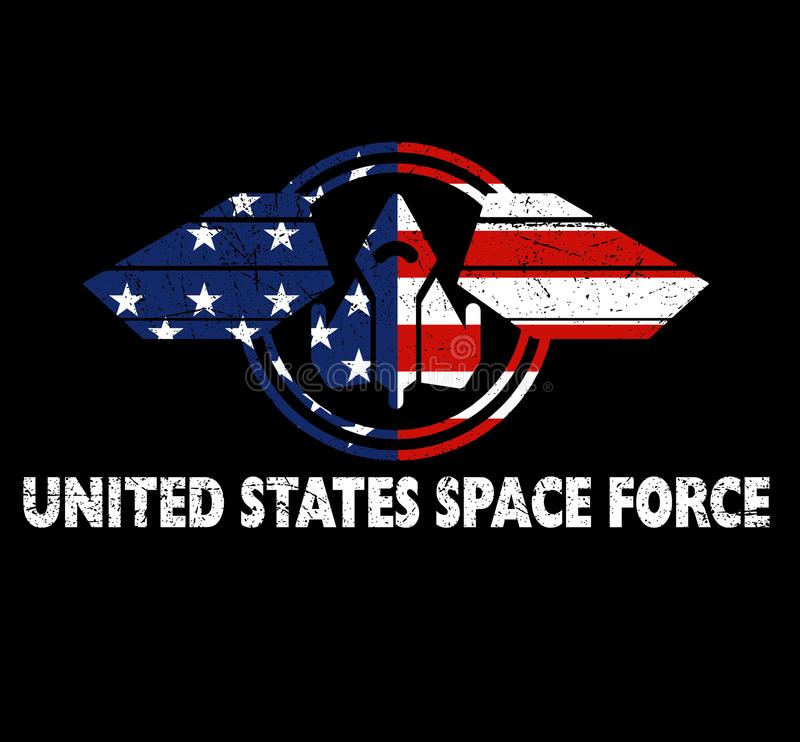 Presente patriótico da camisa da força do espaço do Estados Unidos ilustração stock