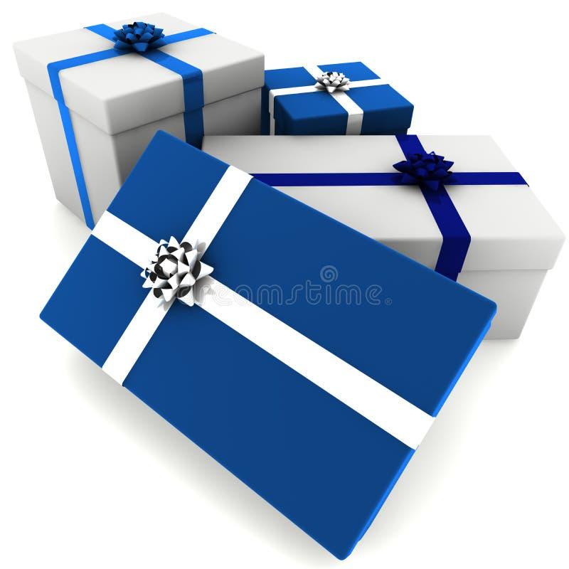 Presente resi di bianco e dell'azzurro illustrazione vettoriale