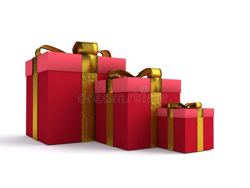 Presente rossi di natale della scatola illustrazione di stock