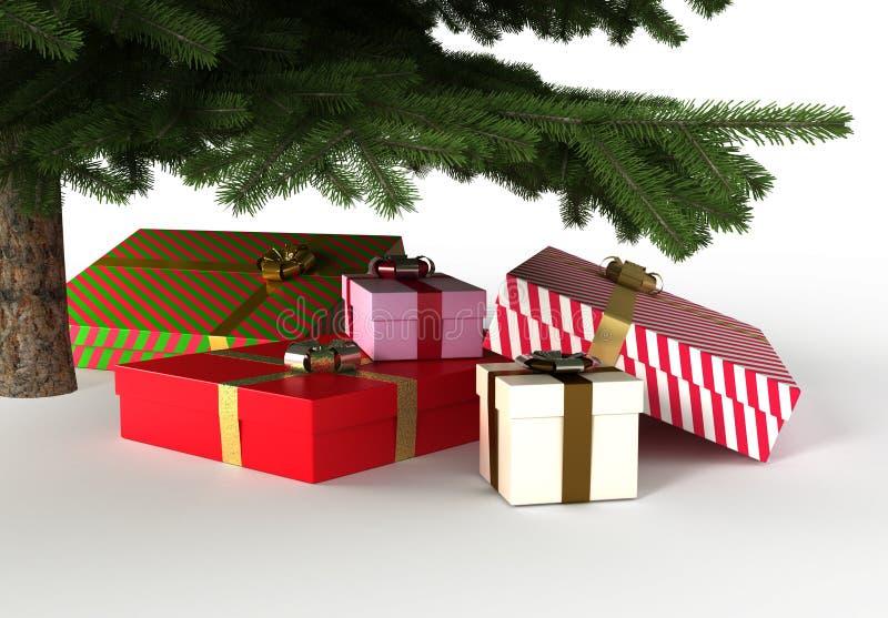 Presente sotto l'albero di Natale, con il percorso di residuo della potatura meccanica illustrazione di stock