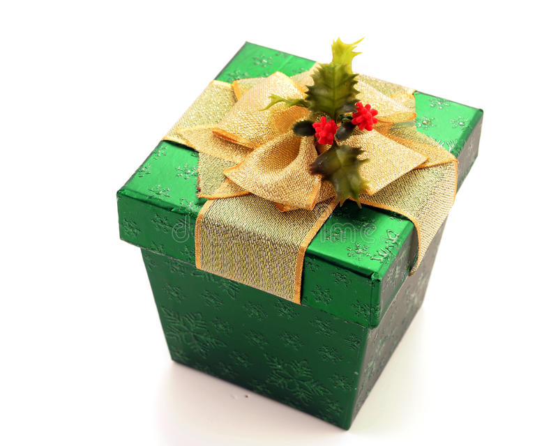 Presente verde do Natal imagens de stock royalty free