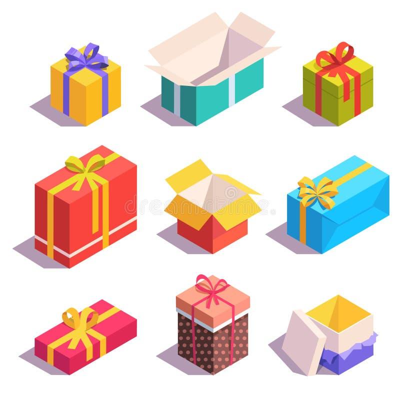 Presente y cajas de regalo brillantes, coloridos ilustración del vector