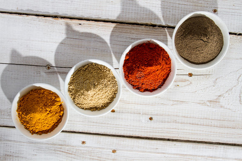Presented a variety of spices royalty free stock photos