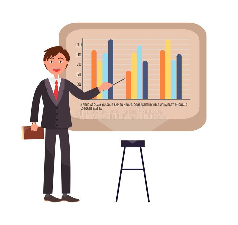 Presenter on Seminar Explaining Chart on Board. Vector. Businessman presenting new company strategy, whiteboard with infographic scheme and numbers vector illustration