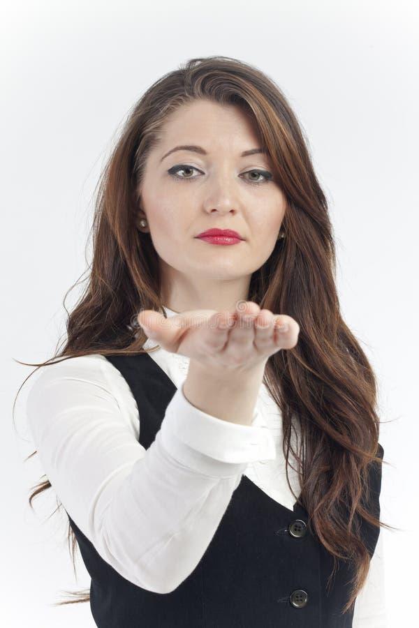 Presentera för affärskvinna arkivfoto
