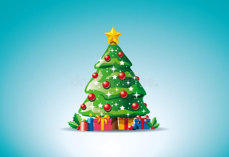 Presentes alrededor del árbol de navidad ilustración del vector