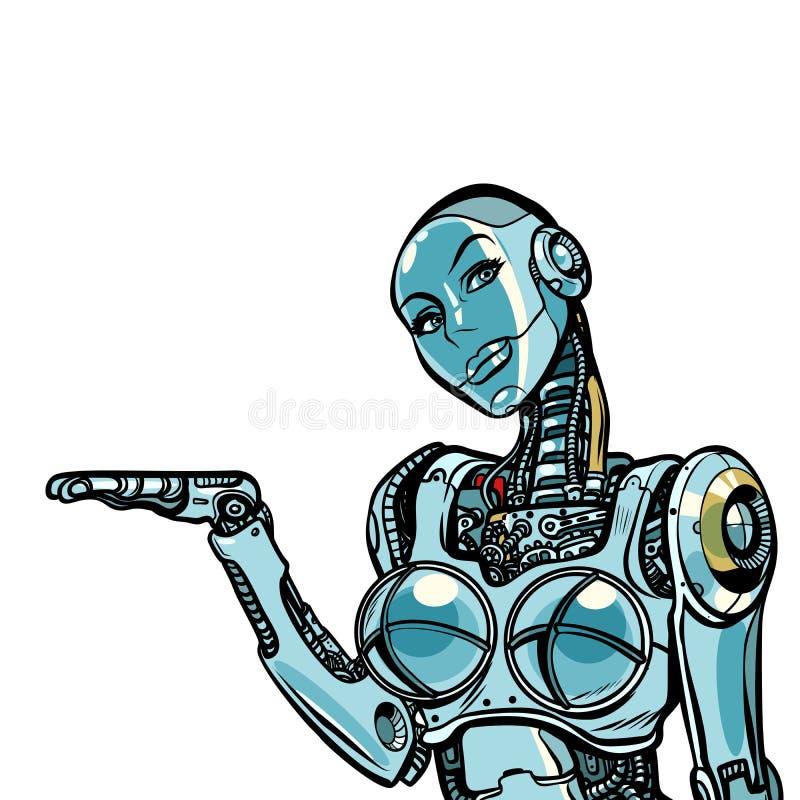 Presentes bonitos do robô da mulher Isolado no fundo branco ilustração royalty free