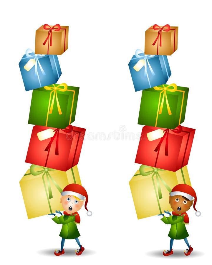 Presentes carreg do Natal do duende ilustração royalty free