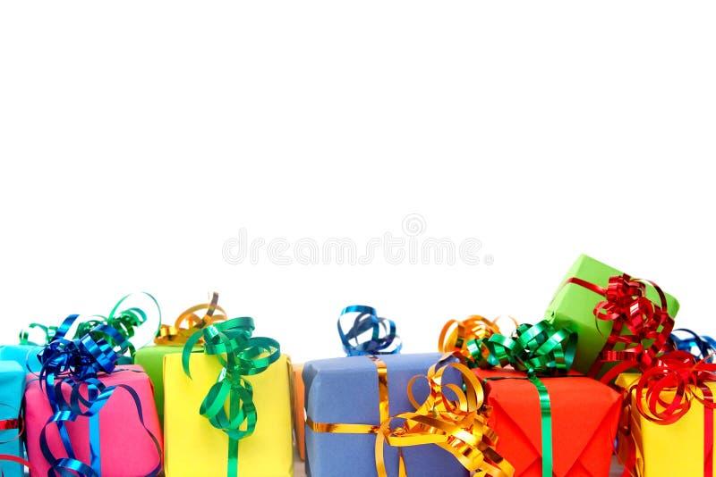 Presentes coloridos fotografia de stock