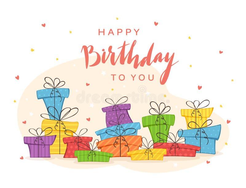 Presentes coloridos y el poner letras feliz cumpleaños libre illustration