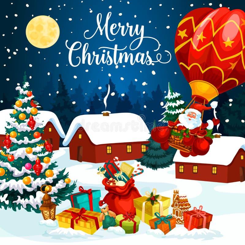 Presentes de época natalícia do Natal no cartão da neve ilustração royalty free