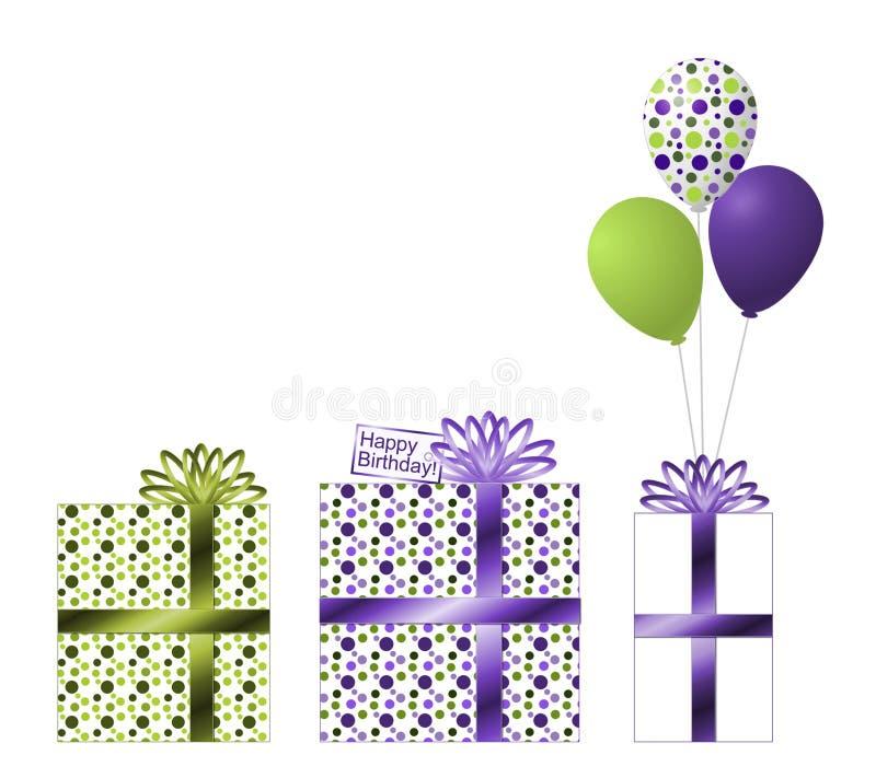 Presentes de aniversário roxos e verdes e Ballons ilustração royalty free