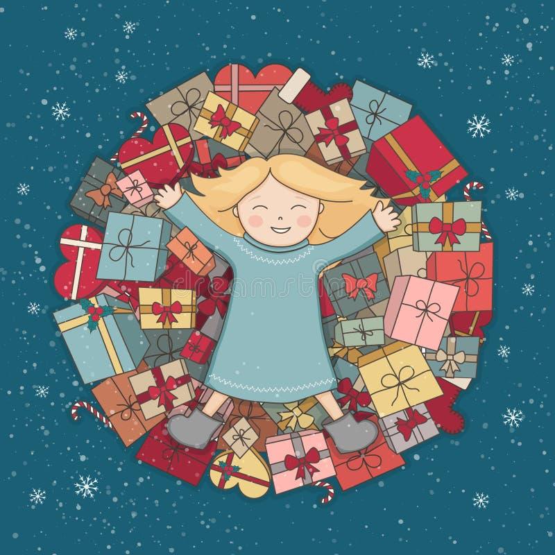 Presentes de la montaña El niño recibió un regalo Ejemplo de la Navidad Tarjeta de felicitación del vector stock de ilustración