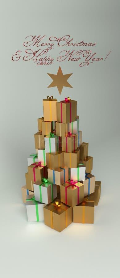 Presentes de la Navidad y del Año Nuevo en la pila con la forma del árbol de navidad Con el texto de saludo rojo y una estrella stock de ilustración