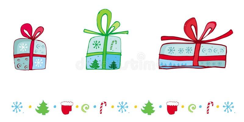 Presentes de Natal ajustados ilustração do vetor