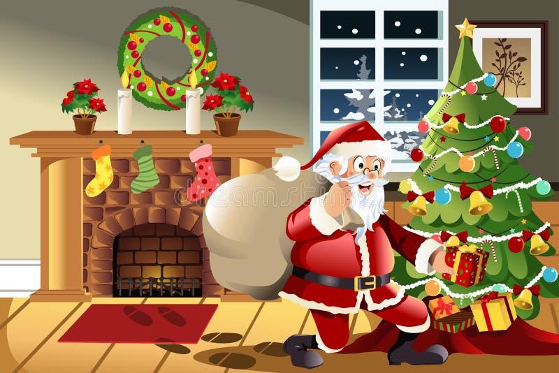 Presentes de Natal carreg de Papai Noel ilustração stock