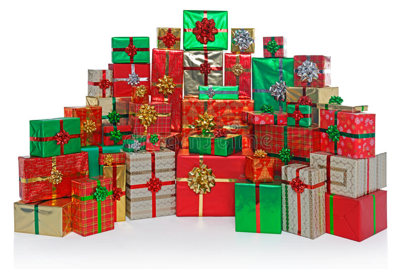 Presentes de Natal envolvidos presente isolados no branco fotos de stock royalty free