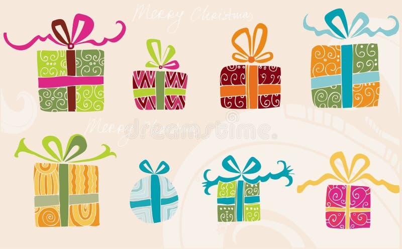 Presentes desenhados mão do feriado ilustração stock
