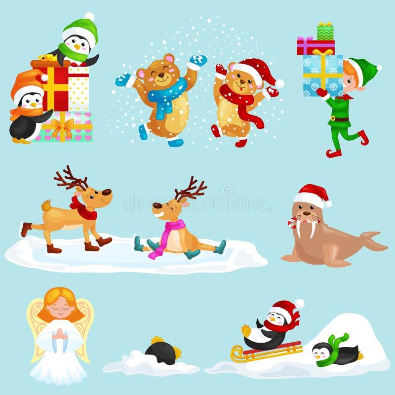Presentes determinados de los pingüinos de Polo Norte de las vacaciones de invierno de los animales del ejemplo y el sledding aba ilustración del vector
