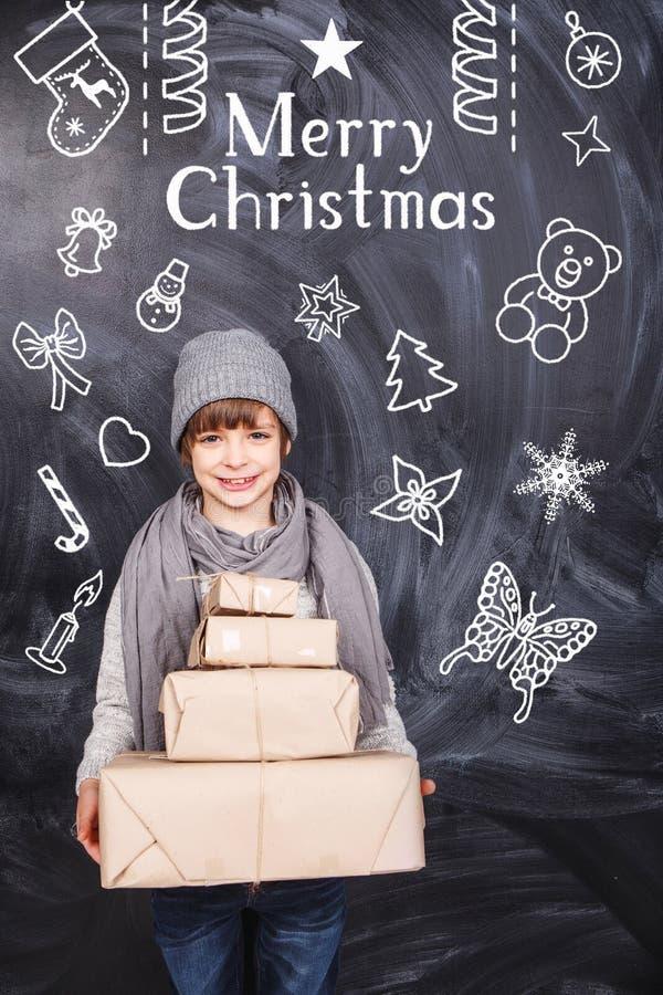 Presentes do Feliz Natal ilustração royalty free
