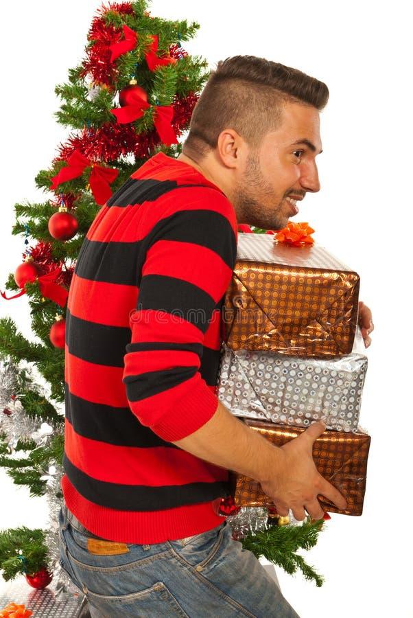 Presentes do Natal da estola do homem fotos de stock royalty free