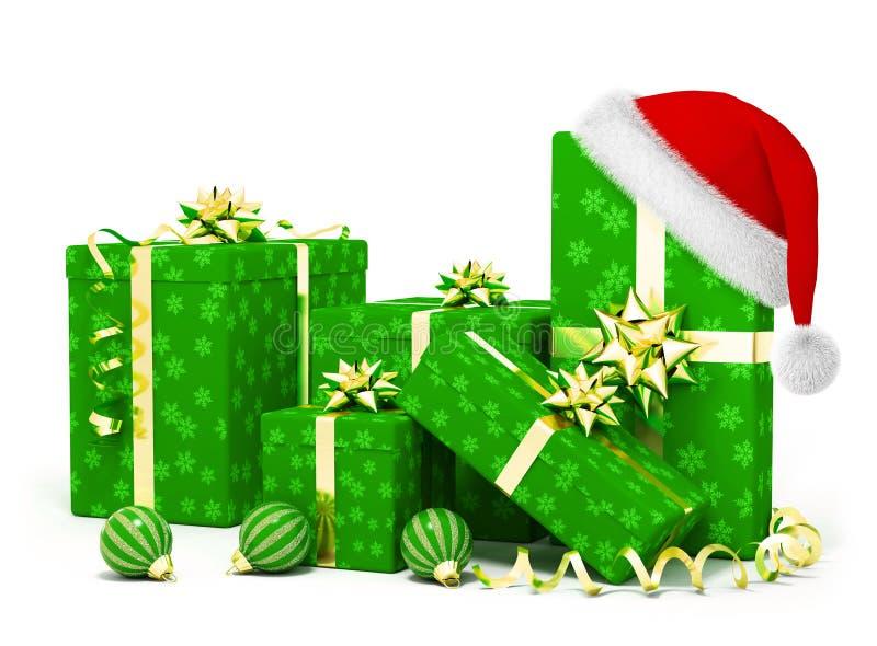 Presentes do Natal e chapéu de Santa ilustração stock