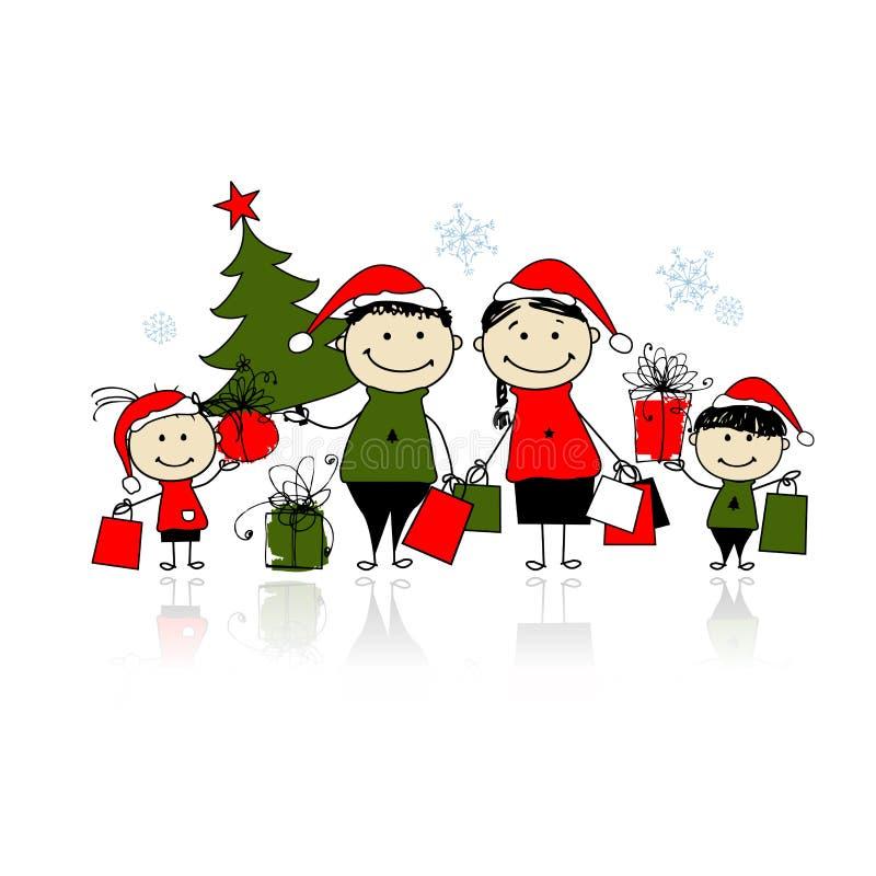 Presentes do Natal. Família com sacos de compra ilustração stock