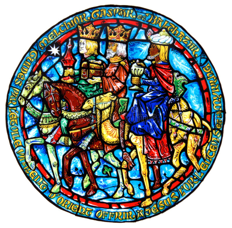 Presentes do vitral dos três Reis Magos fotos de stock royalty free