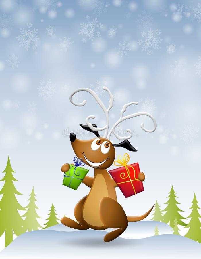 Presentes dos Antlers da rena do cão ilustração royalty free