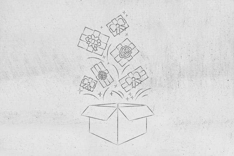 Presentes dos estilos diferentes que caem no pacote da entrega fotos de stock