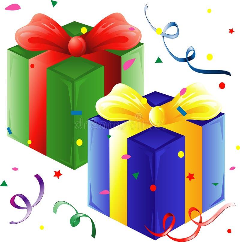 Presentes e confetti ilustração stock
