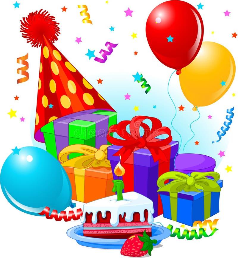 Presentes e decoração de aniversário ilustração stock