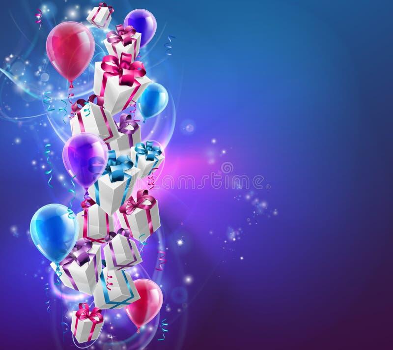 Presentes e fundo abstratos dos balões ilustração royalty free