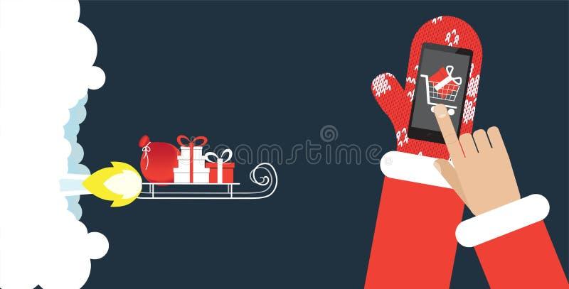 Presentes en el trineo de cohete Concepto rápido del comercio electrónico del envío libre illustration