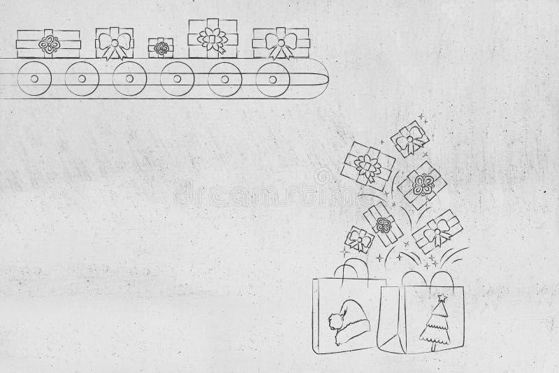 Presentes en la cadena de producción que cae en bolsos de compras de la Navidad imagenes de archivo