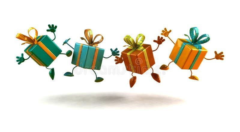 Presentes felizes ilustração royalty free