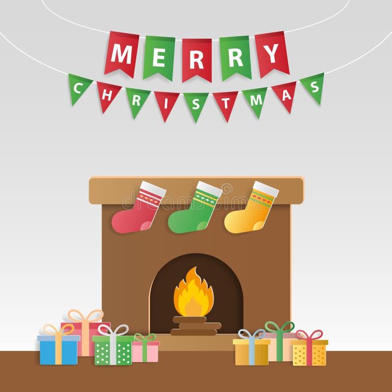 Presentes festivos do Natal e chaminé decorada para o gre do ` s da estação ilustração do vetor