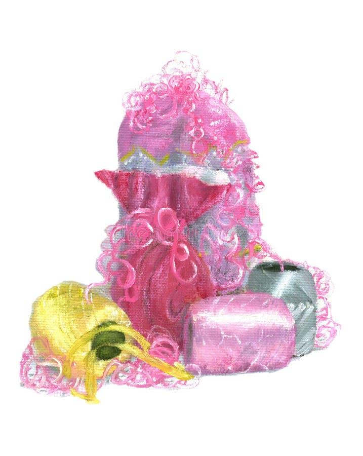 Presentes na cor-de-rosa ilustração royalty free