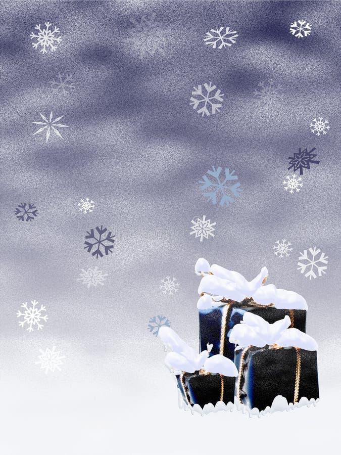 Presentes nevado ilustração royalty free