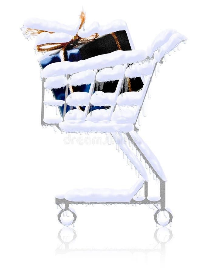 Presentes nevado no carro de compra ilustração do vetor