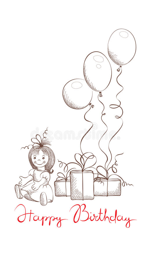 Presentes para a menina ilustração do vetor