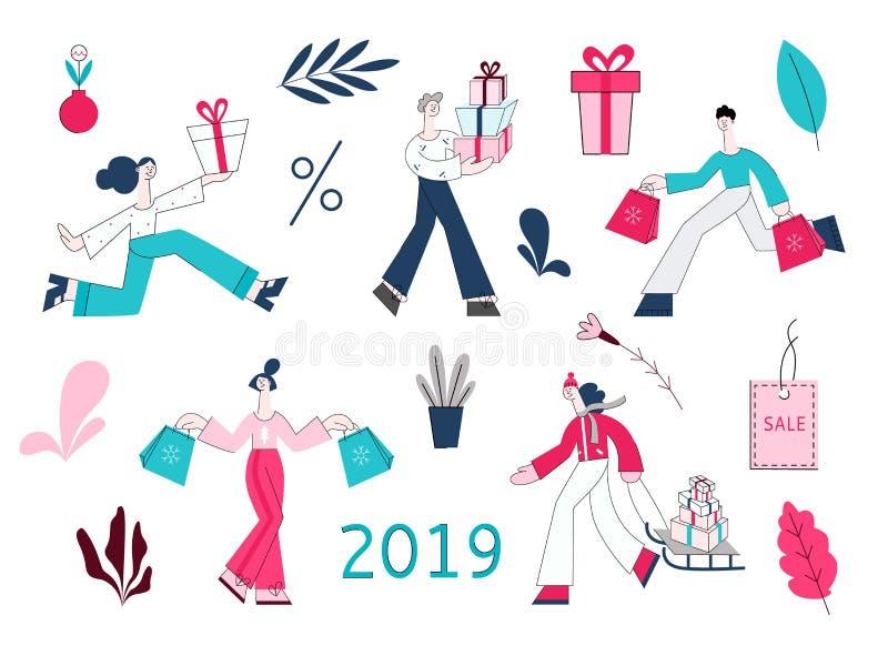 Presentes planos 2019 del muñeco de nieve de la venta de la mujer del hombre del vector libre illustration