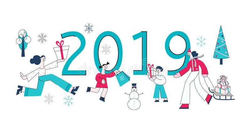 Presentes planos 2019 del muñeco de nieve de la venta de la mujer del hombre del vector stock de ilustración