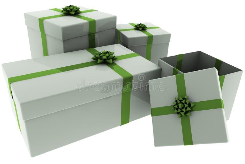 Presentes rendidos da prata com curvas verdes ilustração stock