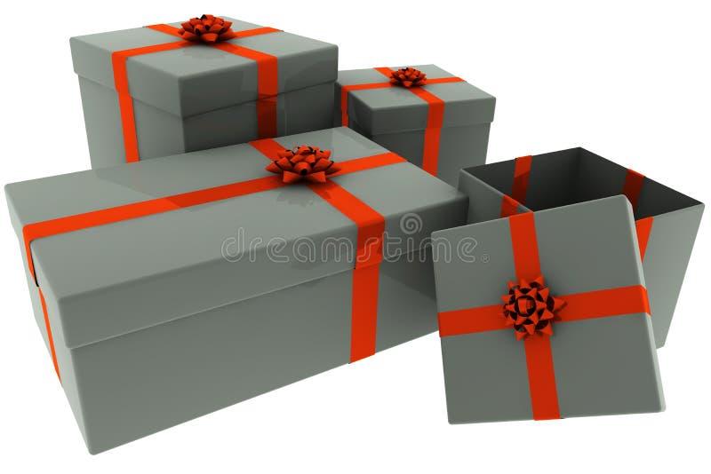 Presentes rendidos da prata com curvas vermelhas ilustração do vetor