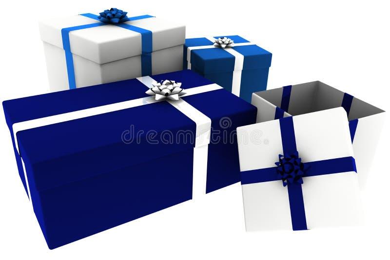 Presentes rendidos do azul e do branco com caixa aberta ilustração do vetor