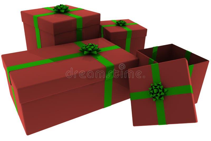 Presentes rendidos do vermelho e do verde com caixa aberta ilustração royalty free