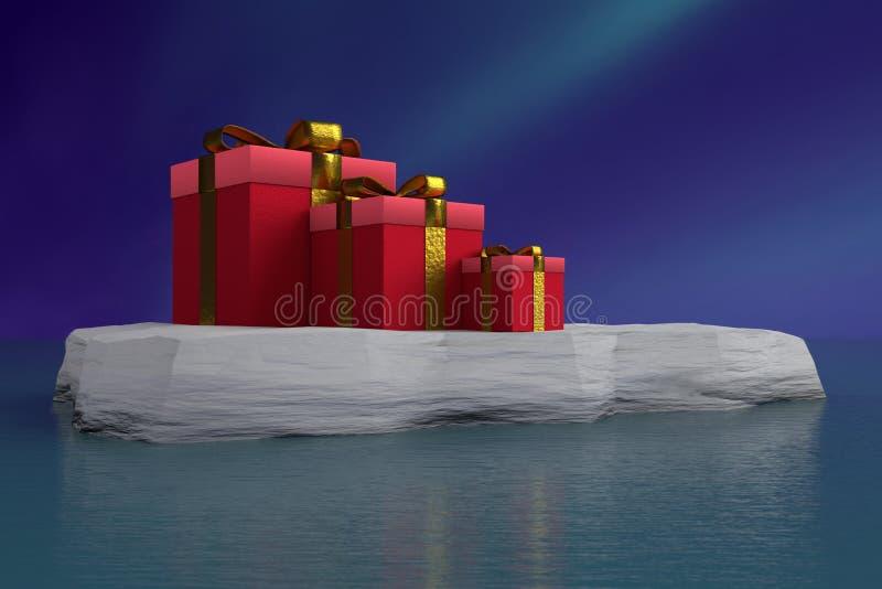 Presentes rojos de Navidad en masa de hielo flotante de hielo stock de ilustración