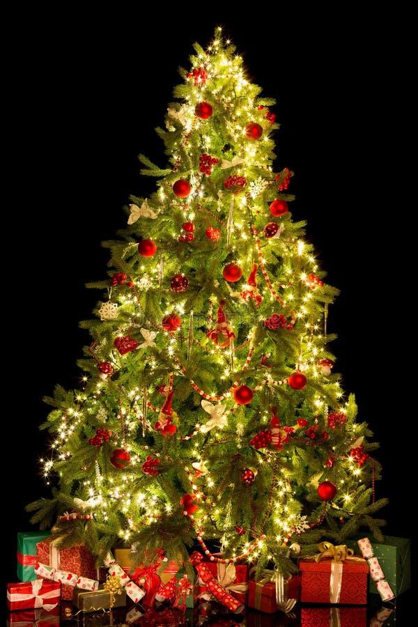 Presentes y árbol de navidad aislados foto de archivo libre de regalías