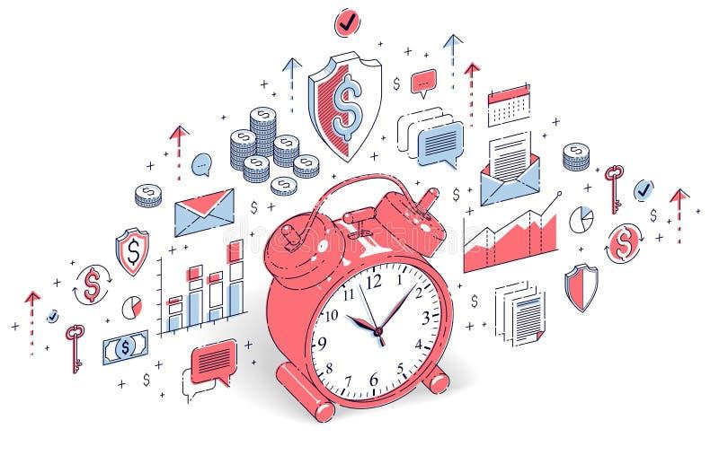Presenti la sveglia isolata su fondo bianco, la cronologia, busine illustrazione di stock